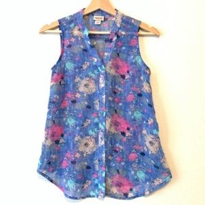 MOSSIMO Sheer Floral Print Sleeveless Button Up XS